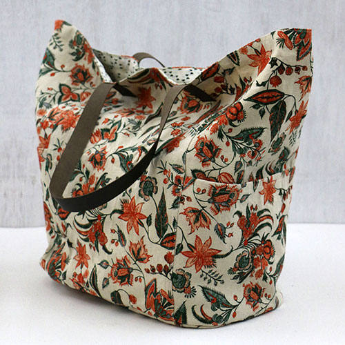 Floral Chintz Block Printed Tote Bag
