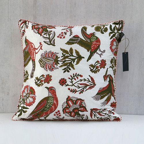 Mughal Birds And Flower Block Printed Cushion Cover
