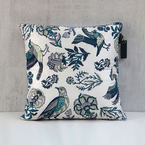 Mughal Birds And Flower Printed Cushion Cover