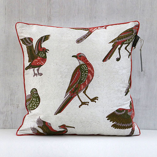 Mughal Birds Block Printed Cushion Cover