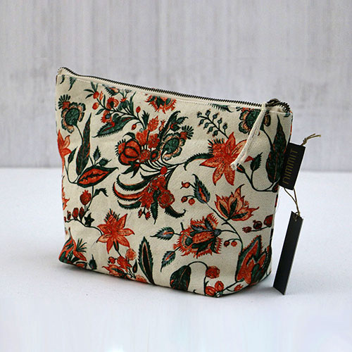 Floral Chintz Block Printed Pouch - Large