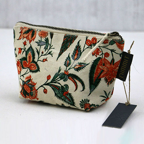 Floral Chintz Block Printed Pouch - Small