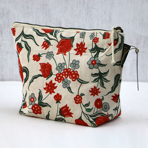 Chintz Flower Block Printed Pouch - Large