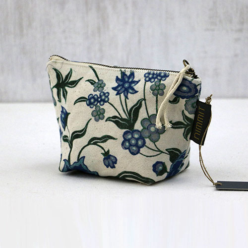 Chintz Flower Block Printed Pouch - Small