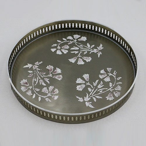 Mughal Flower Hand Painted Filigree Tray - Large