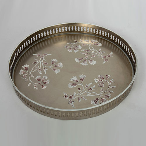 Mughal Flower Hand Painted Filigree Tray - Small