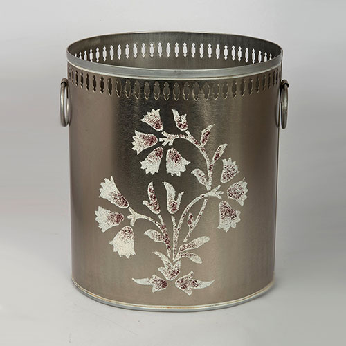 Mughal Flower Hand Painted Filigree Bin Or Planter