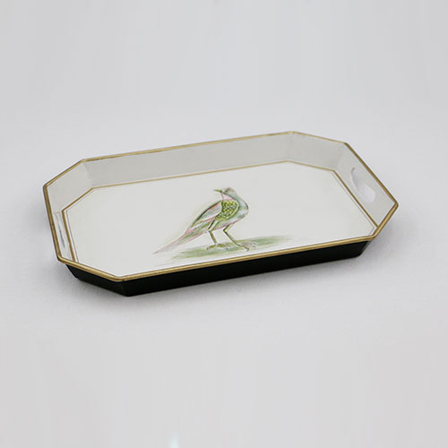 Mughal Bird Hand Painted Octo Tray - Small