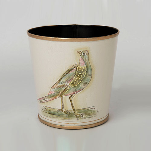 Mughal Bird Round Hand Painted Planter Or Bin