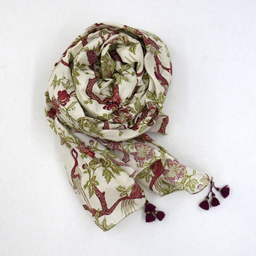 Chintz Tree Of Life Block Printed Scarf
