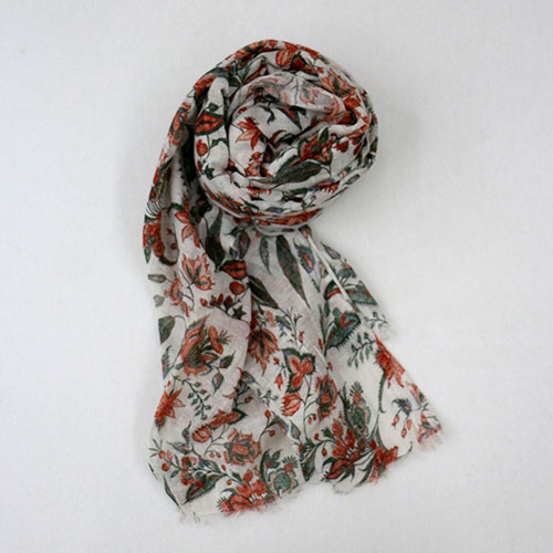 Floral Chintz Block Printed Scarf