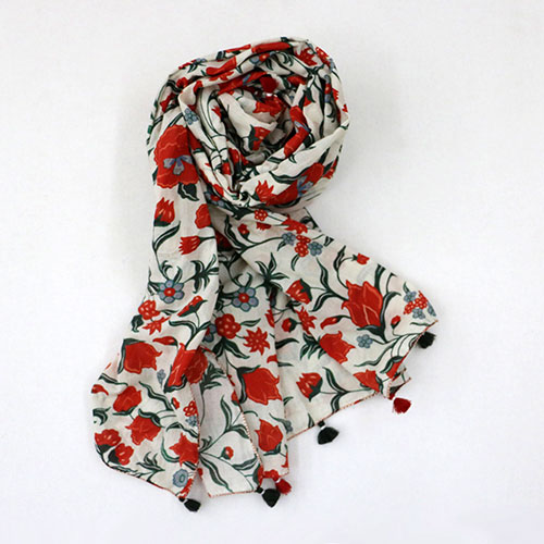 Chintz Flower Block Printed Scarf